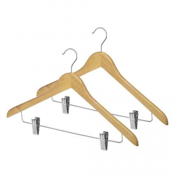 Набор из 2 деревянных вешалок для костюмов с зажимами