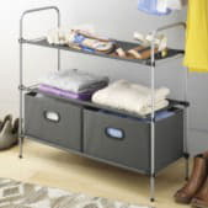 Полка для вещей и обуви в выдвижными ящиками