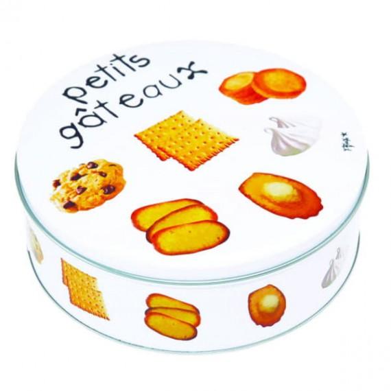 Круглая металлическая коробка для печенья Gourmet Petits Gâteaux