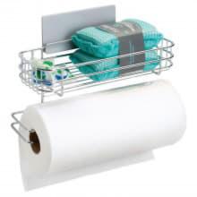 Самоклеящийся держатель для бумажных полотенец с корзиной