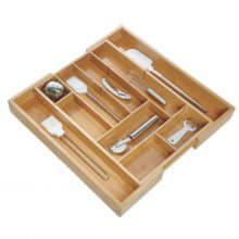 Раздвижной лоток-органайзер для мелочей Бамбук