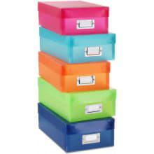 Набор из 5 цветных пластиковых коробок