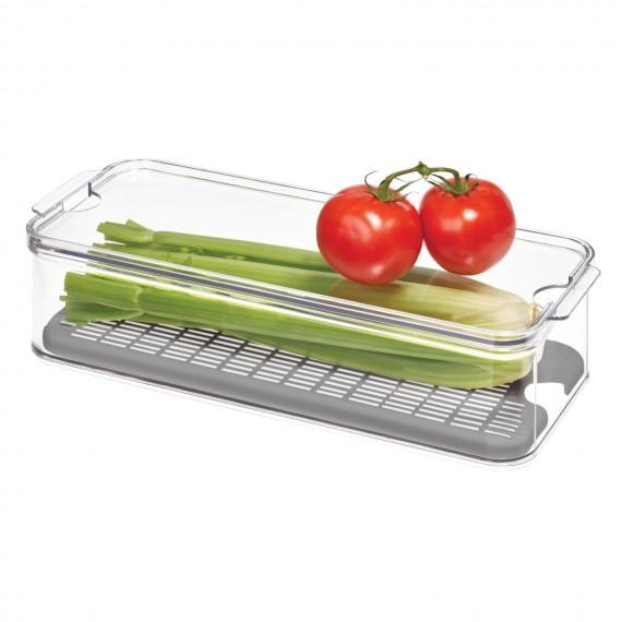 Контейнер для фрутков и овощей со съемным дном-корзиной Crisp grey