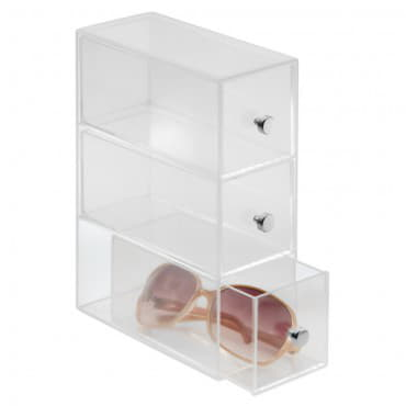 Узкий органайзер с 3 выдвижными ящиками Clarity