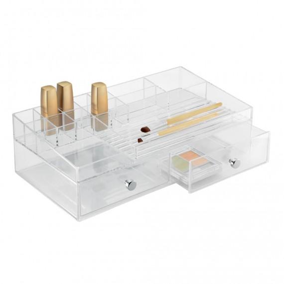 Горизонтальный органайзер для косметики с 2 выдвижными ящиками Clarity