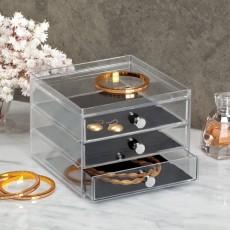 Узкий органайзер для украшений с 4 выдвижными ящиками Clarity