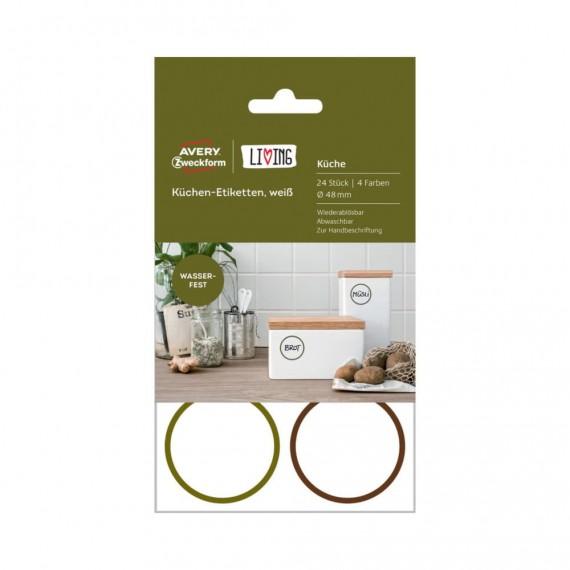 Удаляемые этикетки для кухни круглые