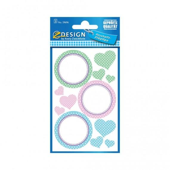 Удаляемые круглые этикетки и наклейки «Сердечки»