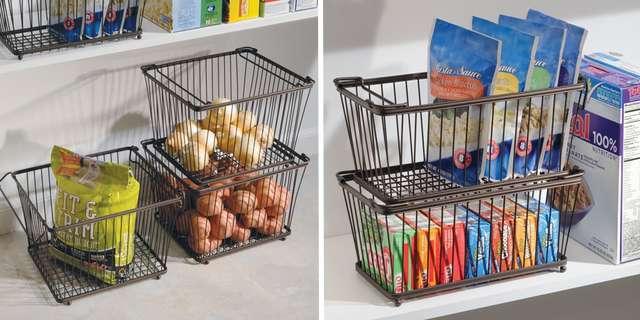 Проволочные корзины для хранения на кухне