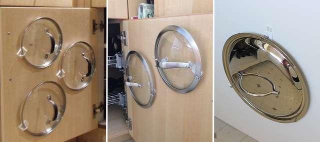 Крючки Command для организации крышек на кухне