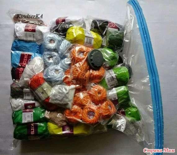 хранение пряжи в вакуумном пакете