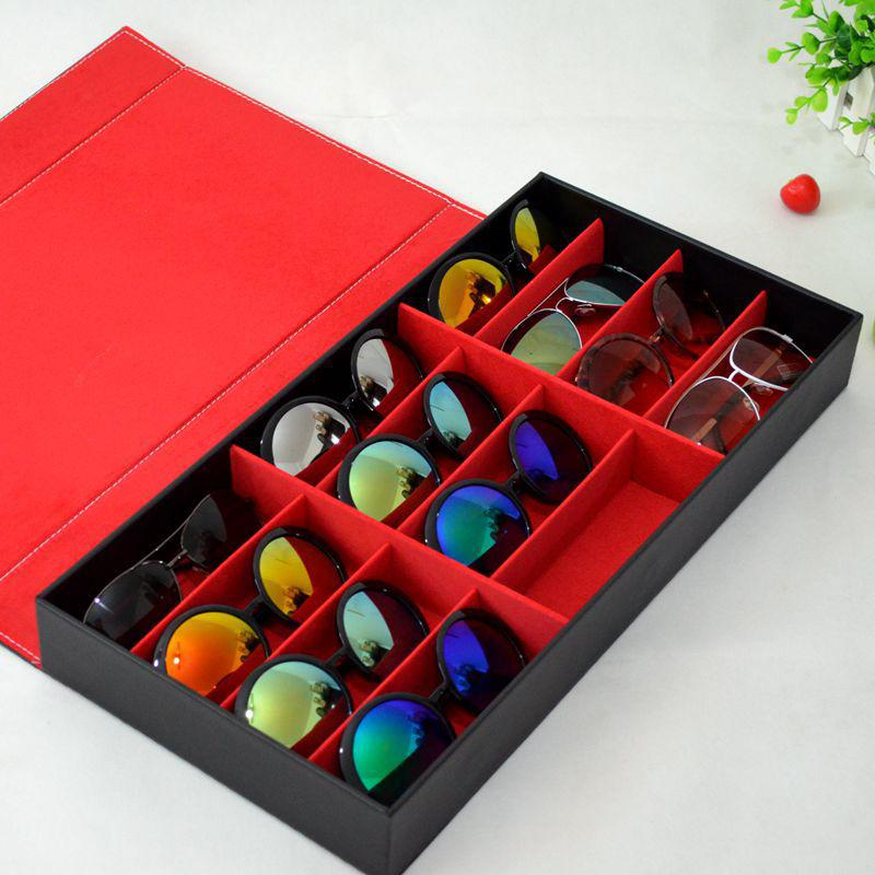 Black-And-Red-Desktop-Organizer-Storage-Sunglasses-Display-Case-For-12-Pairs-of-Eye-Glasses-Holder